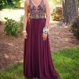 Wine Color Diamond Beaded Prom Dress